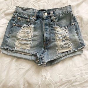 MINKPINK Shorts - MINKPINK Distressed Denim Shorts